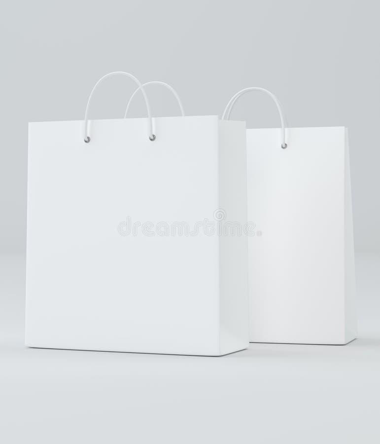 在白色的空的购物袋做广告和烙记的 3d翻译 库存例证