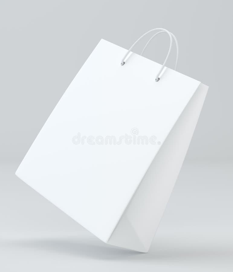 在白色的空的购物袋做广告和烙记的 3d翻译 皇族释放例证