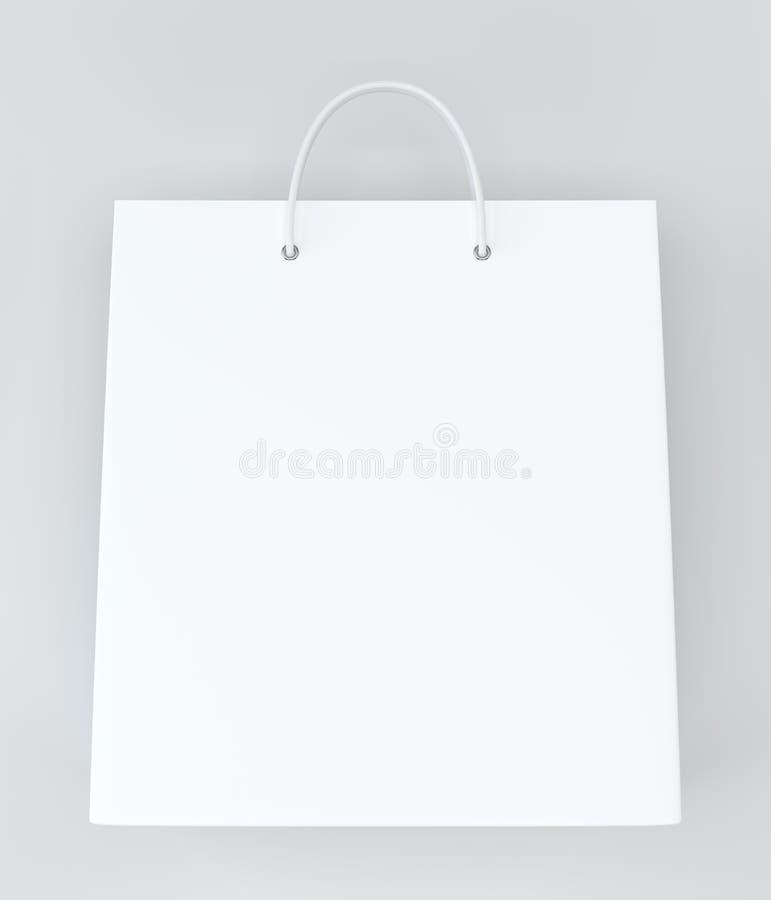 在白色的空的购物袋做广告和烙记的 3d翻译 向量例证