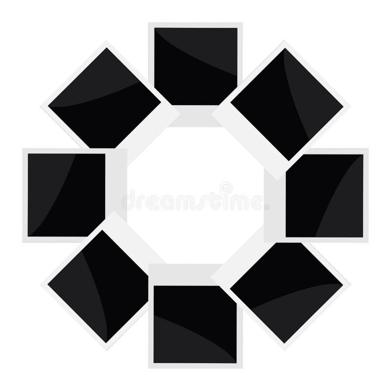 在白色的立即照片圈子在平的设计样式 库存例证