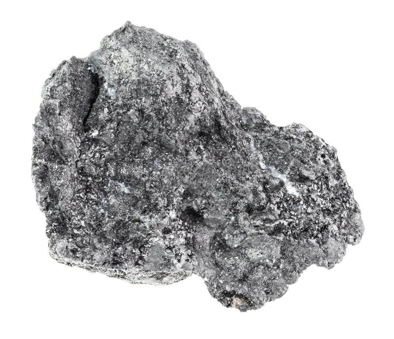 在白色的粗砺的石墨石头 免版税库存照片