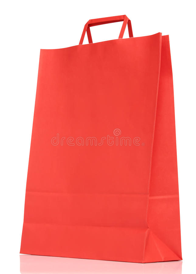 在白色的红色纸购物袋 库存图片