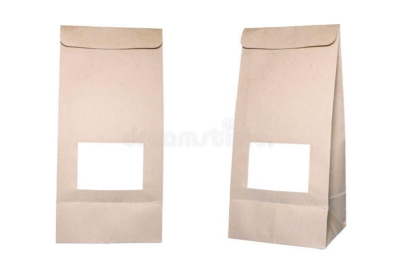 在白色的纸袋与裁减路线 库存照片