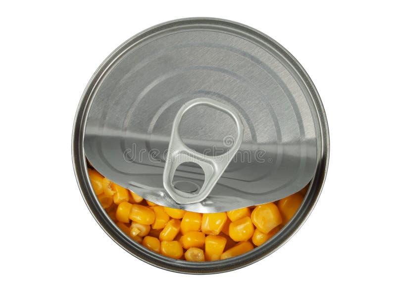 在白色的罐装玉米 免版税库存照片