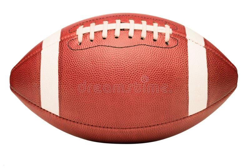 在白色的美国学院高中小字辈橄榄球 库存图片