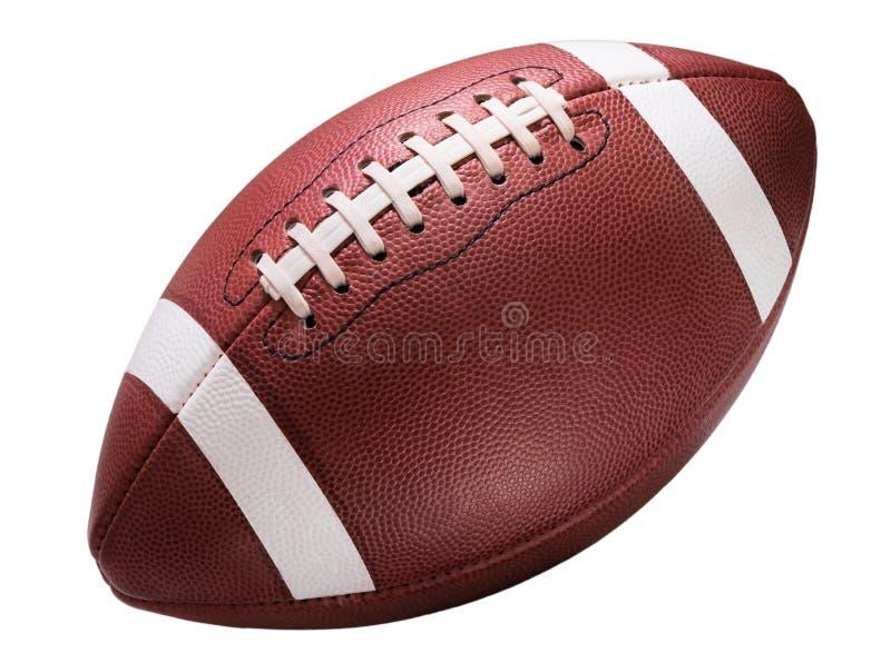 在白色的美国学院高中小字辈橄榄球 免版税图库摄影