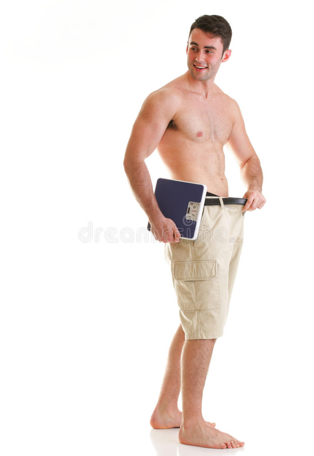 在白色的肌肉男性缩放比例机体 免版税库存照片