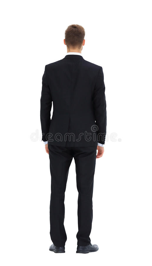 在白色的背景商业查出的人 后部 库存照片