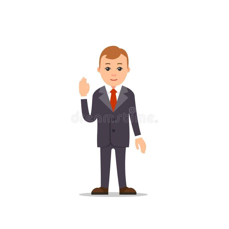 在白色的背景商业查出的人 商人立场和一只手被举, othe 皇族释放例证