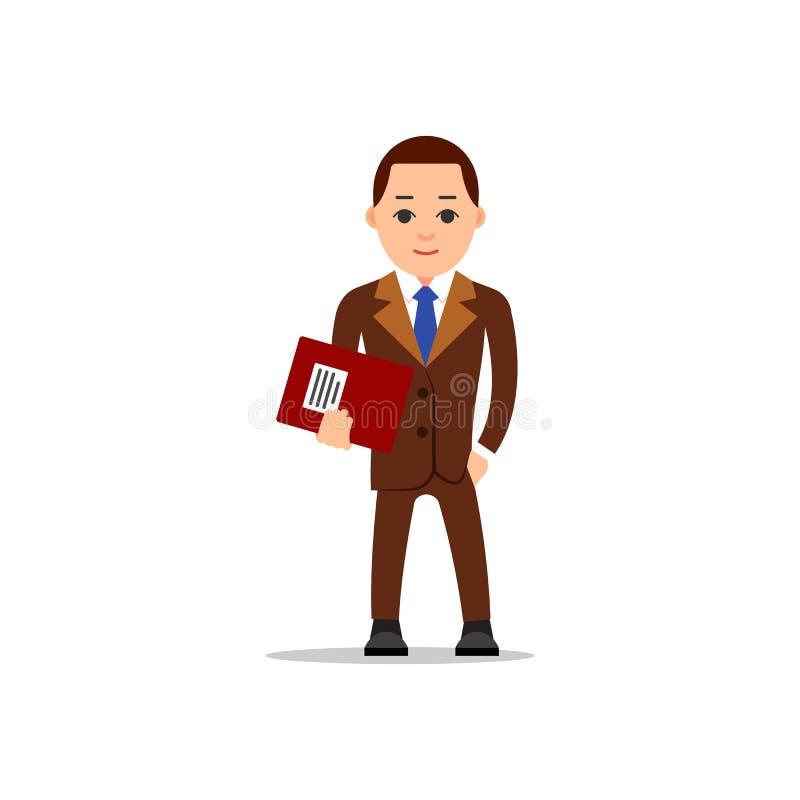 在白色的背景商业查出的人 商人立场和举行与文件的一个文件夹 库存例证