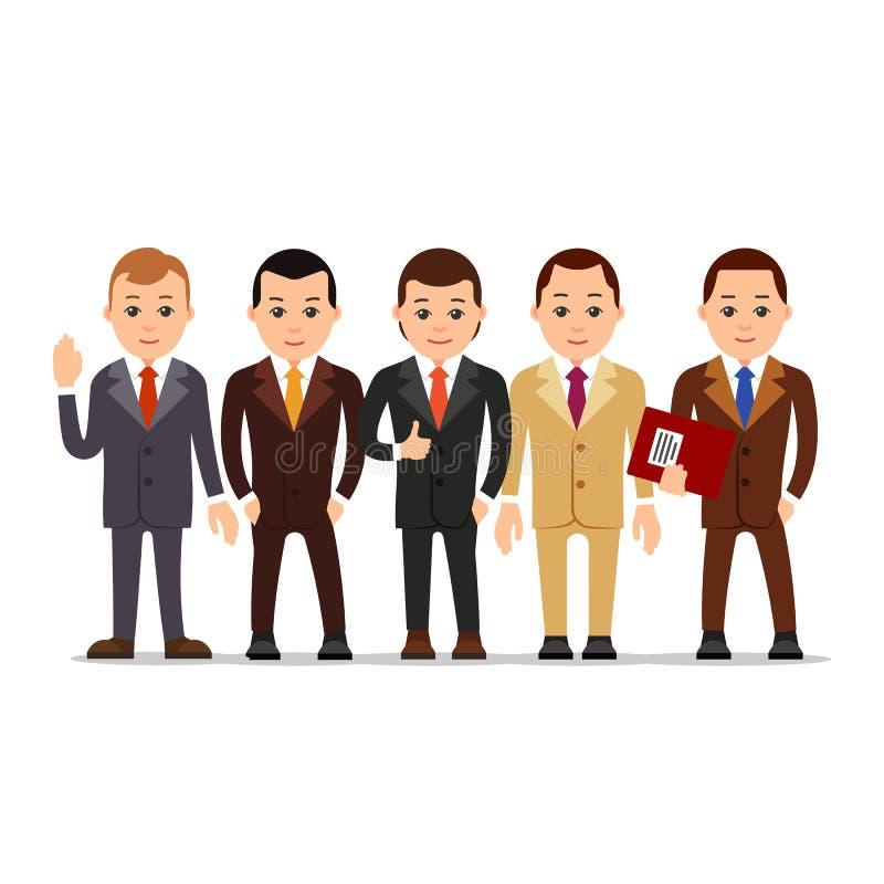 在白色的背景商业查出的人 套商人字符以各种各样的姿势 人 向量例证