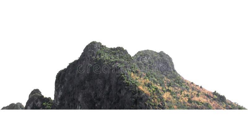 在白色的自然山岩石孤立 免版税库存照片