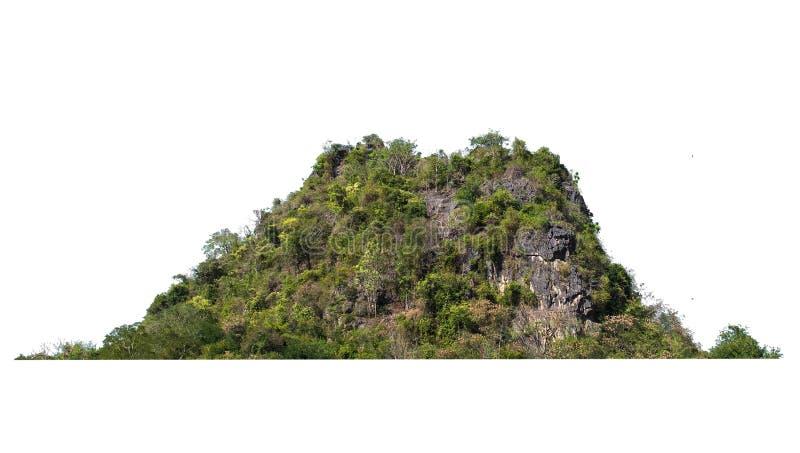 在白色的自然山岩石孤立 库存图片