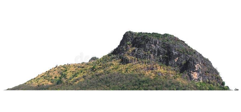 在白色的自然山岩石孤立 免版税库存图片