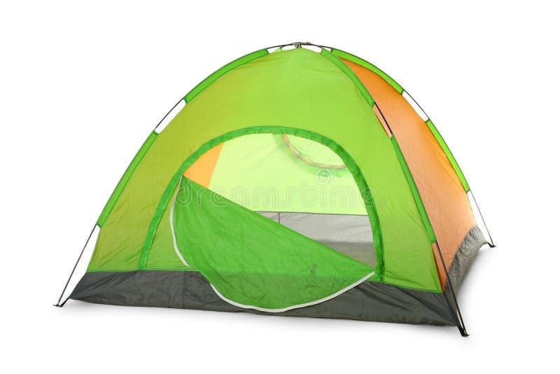 在白色的舒适的五颜六色的野营的帐篷 库存图片