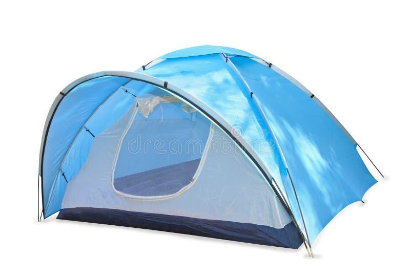 在白色的蓝色帐篷 库存照片