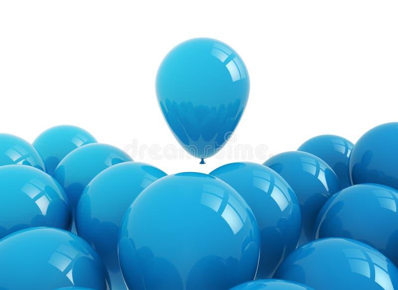 在白色的蓝色气球 向量例证