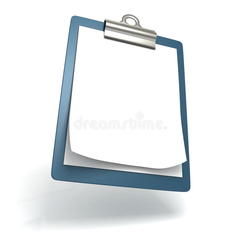 在白色的蓝色营业所笔记板和纸张 向量例证