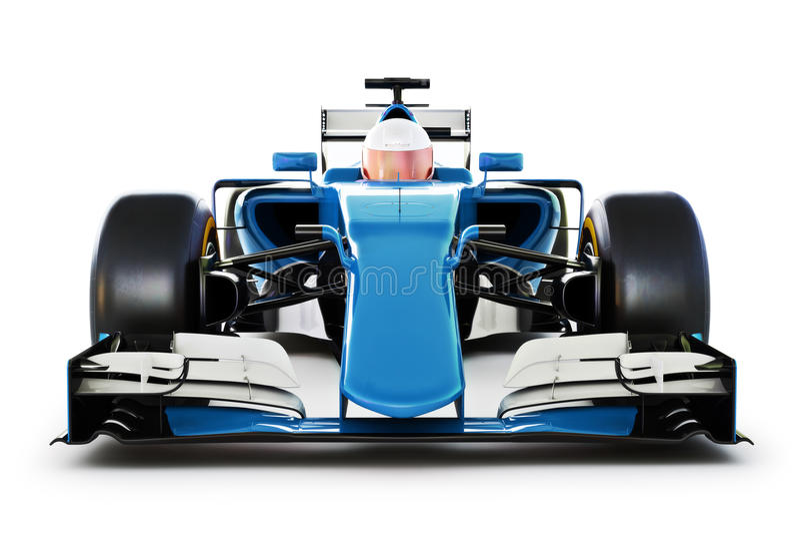在白色的蓝色赛车和司机正面图隔绝了背景 通用 皇族释放例证