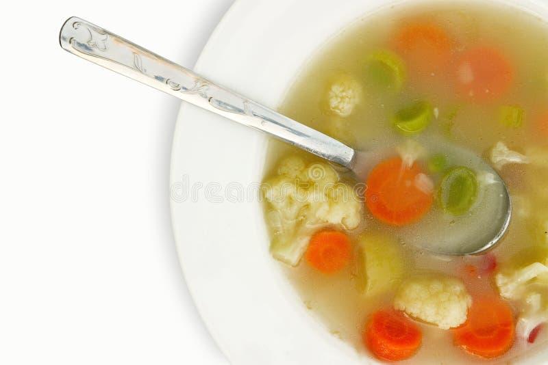 在白色的蔬菜汤 免版税图库摄影