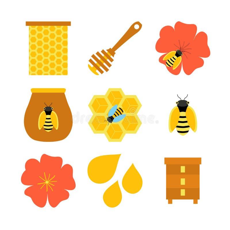 在白色的蜂蜜蜂养蜂被隔绝的对象 库存照片