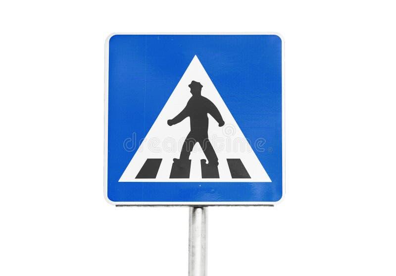 在白色的行人交叉路标志 库存图片