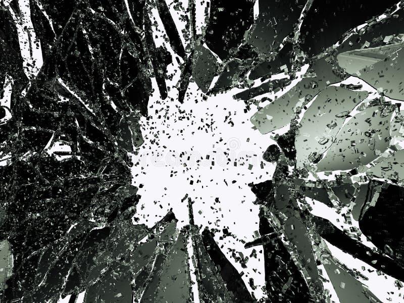 在白色的被打碎的或被拆毁的玻璃 库存例证