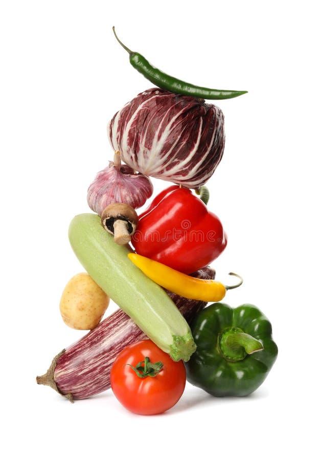 在白色的许多不同的可口菜 免版税库存图片