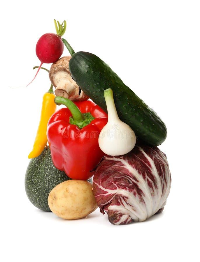 在白色的许多不同的可口菜 库存图片