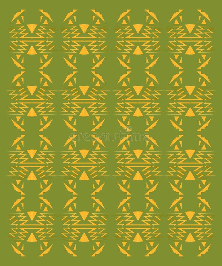 在白色的设计异乎寻常的装饰品 绿色生物阿兹台克人 皇族释放例证