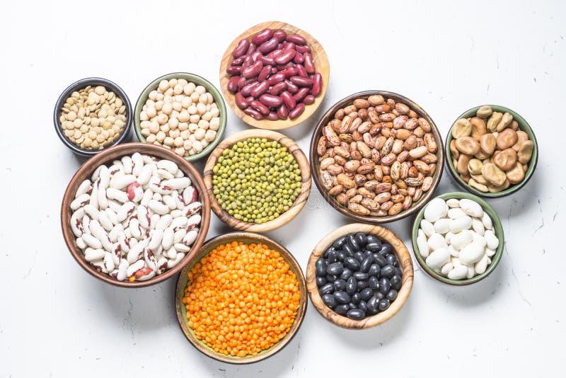 在白色的豆类、扁豆、chikpea和豆分类 免版税库存照片
