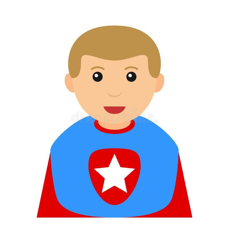 在白色的超级英雄男孩具体化平的象 库存例证