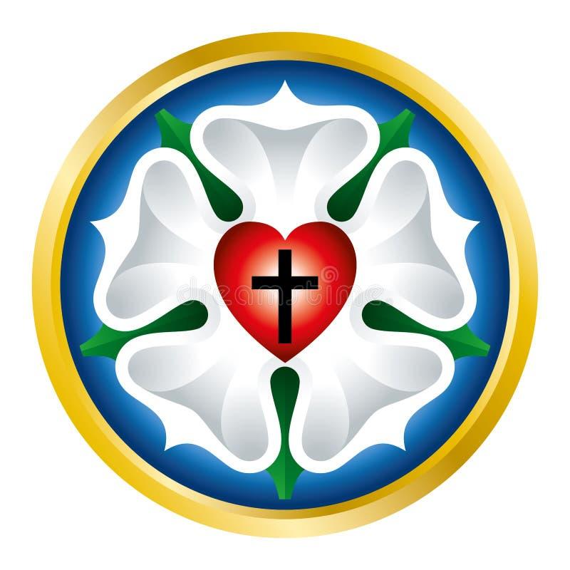 在白色的路德玫瑰色标志例证 库存例证