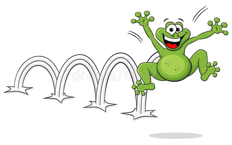 在白色的跳跃的动画片青蛙 皇族释放例证