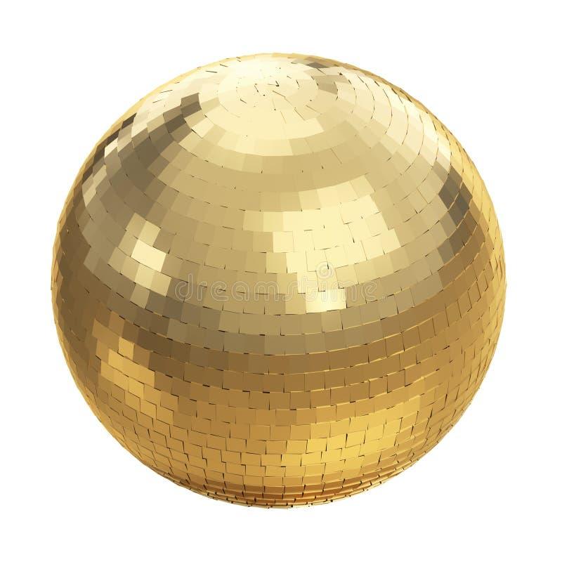 在白色的金黄迪斯科球 库存例证