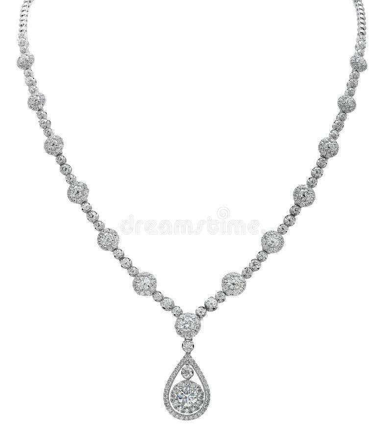 在白色的钻石项链 库存图片