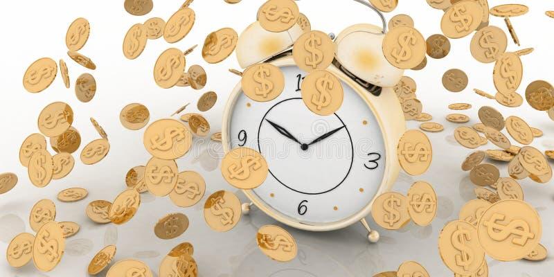 在白色的闹钟和货币 皇族释放例证