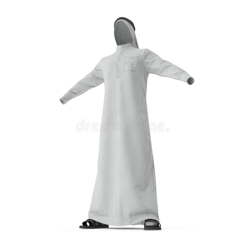 在白色的阿拉伯人衣裳 3d例证 向量例证