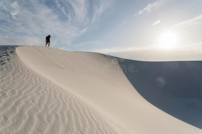 在白色的风景在Alamogordo,新墨西哥铺沙国家历史文物 图库摄影