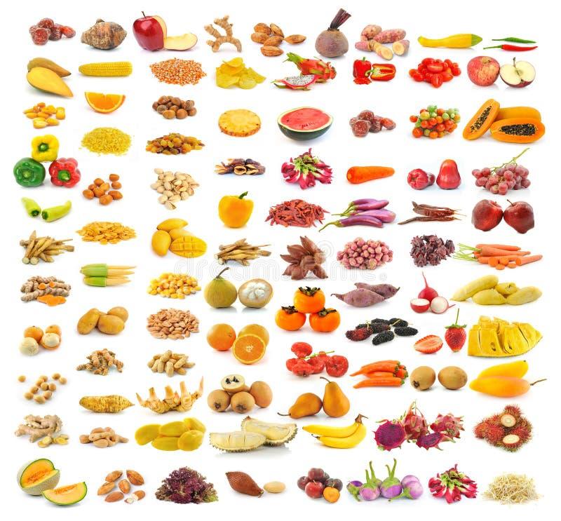 在白色的食物汇集 免版税图库摄影