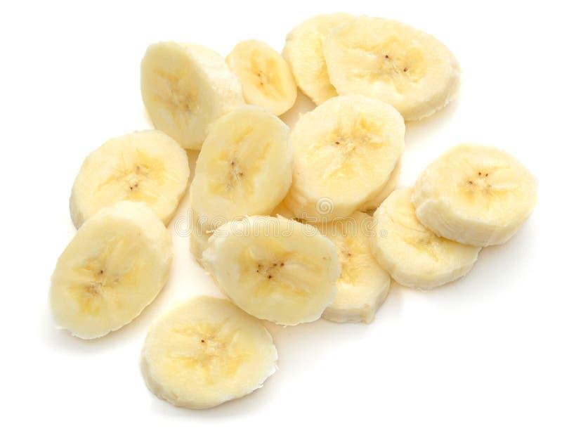 在白色的香蕉切片 免版税库存照片