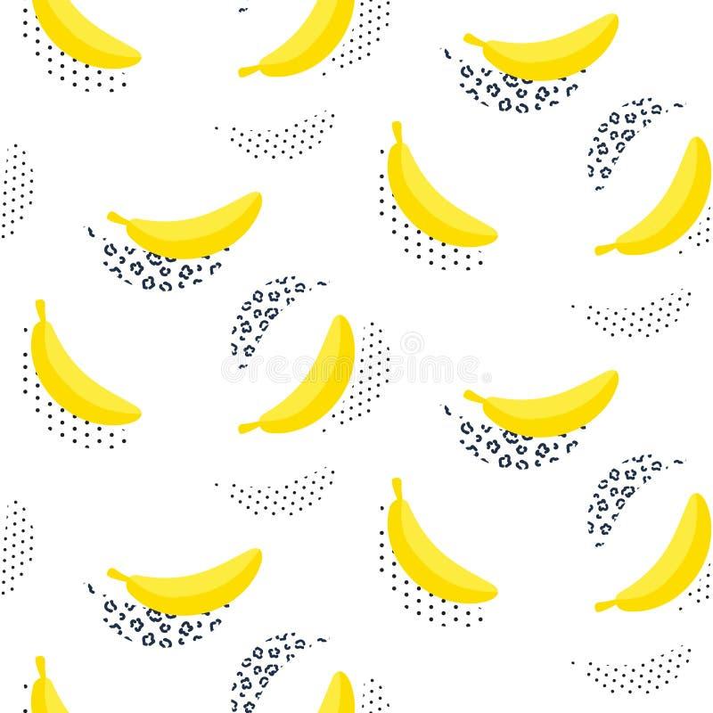 在白色的香蕉流行艺术无缝的传染媒介样式 向量例证