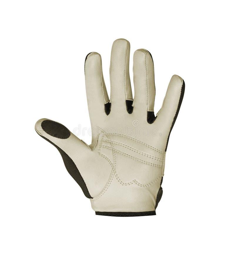 在白色的高尔夫球手套 免版税库存图片