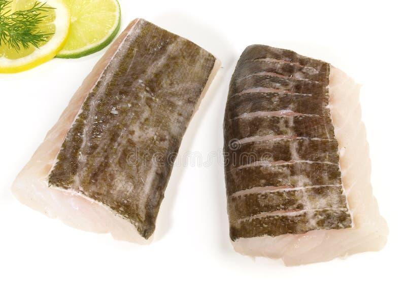 在白色的鳕鱼腰部 免版税图库摄影