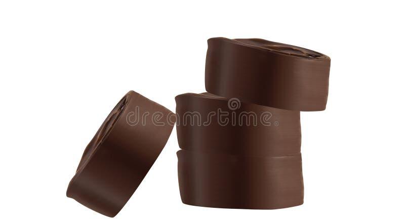 在白色的黑暗的巧克力 库存照片