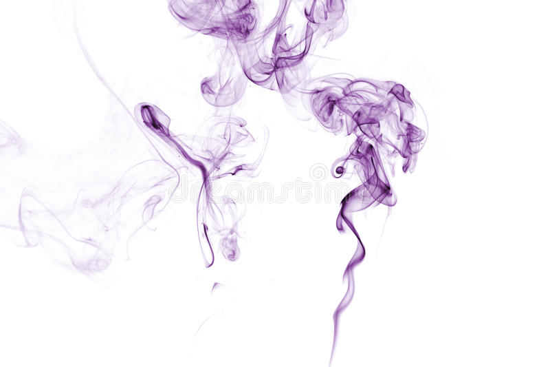 在白色的紫色烟。 免版税库存图片