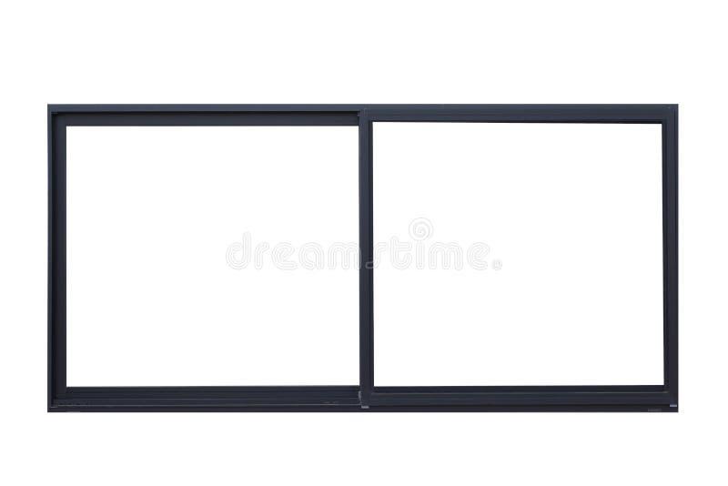 在白色的黑金属窗架 免版税库存图片