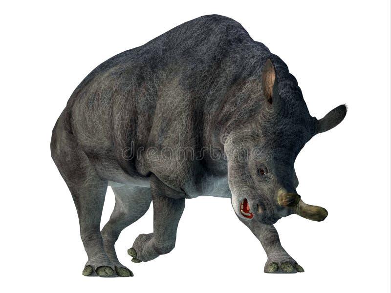 在白色的Brontotherium哺乳动物 皇族释放例证