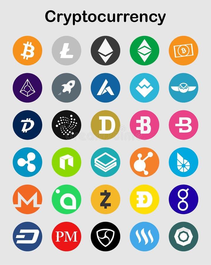在白色的Cryptocurrency平的象 免版税库存照片