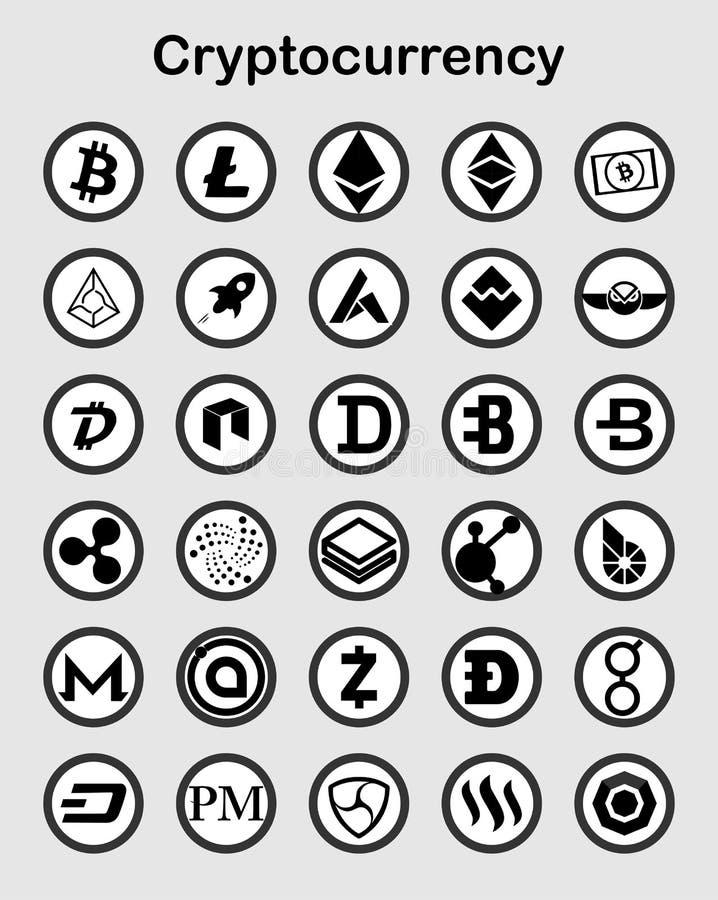 在白色的Cryptocurrency平的象 库存照片